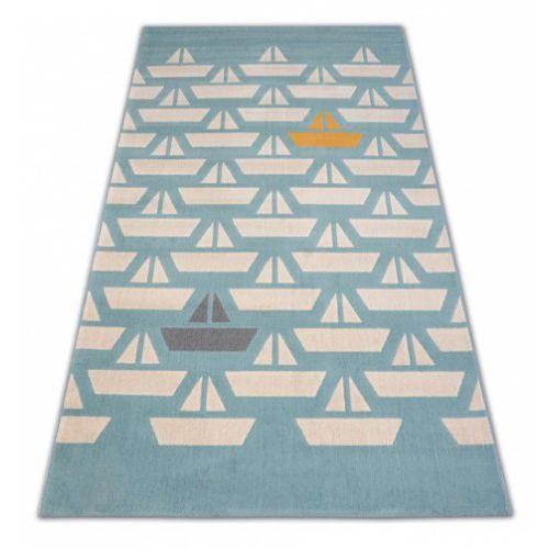 Dywan Dziecięcy Komfort Pastel 18411032 żaglówki łódki Turkus Krem Szary Złoty Roomzone