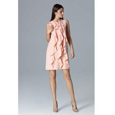 36902f51fe Różowa wyjściowa sukienka trapezowa z pionowymi falbankami marki Figl MOLLY