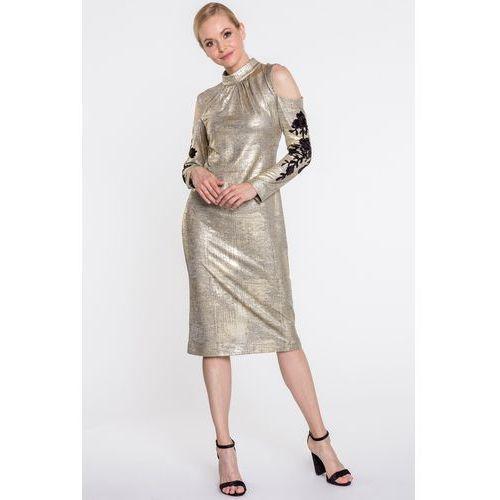 f7c6acb61c Studio Mody Francoise Złota sukienka z rękawami cold shoulder - Studio Mody  Francoise
