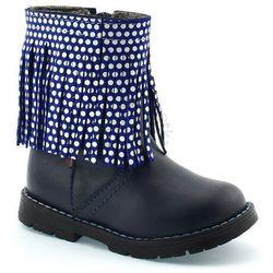 Skórzane buty zimowe dla dzieci 86/04 - granatowy marki Zarro