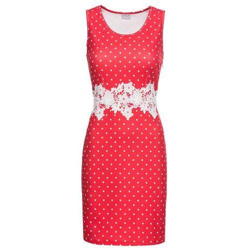 Bonprix Sukienka z krepy z dżerseju, z koronkową wstawką truskawkowo-biel wełny w kropki