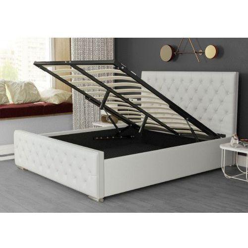 Łóżko tapicerowane z materacem 180x200 2230g białe + guziki marki Meblemwm