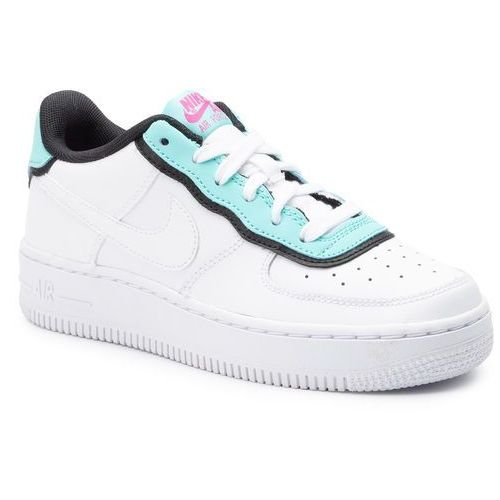 Nike Buty - air force 1 lv8 1 dbl gs bv1084 100 white/white/light aqua/black