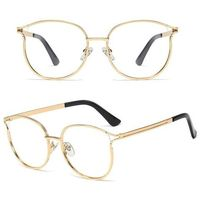 Okulary damskie zerówki złote kocie oko