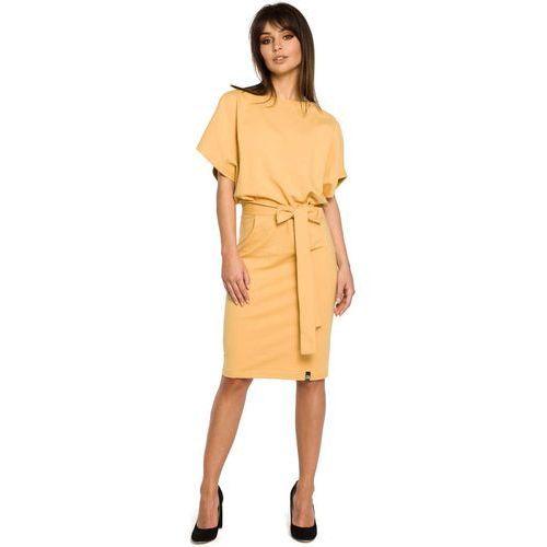 Żółta Sukienka Przewiązana Paskiem z Nietoperzowym Krótkim Rękawem, w 6 rozmiarach