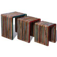 vidaXL Stoliki wsuwane pod siebie z kolorowego drewna tekowego x3
