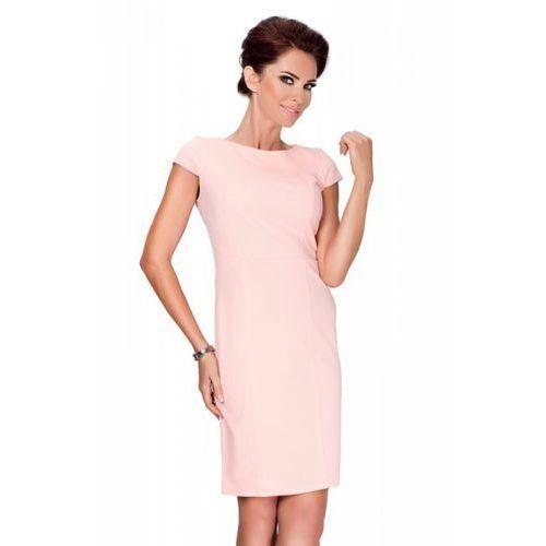 Numoco Elegancka sukienka z krótkim rękawkiem - brzoskwinia 37-1
