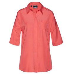 Shirt z koronką, krótki rękaw niebieski mineralny marki Bonprix