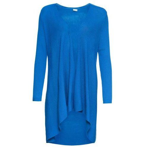Bonprix Długi sweter bez zapięcia w prążek błękit królewski
