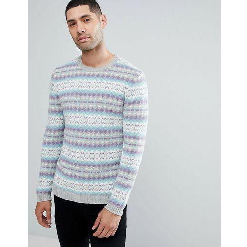 All over fairisle wool mix jumper in grey - multi, Asos, 32-40