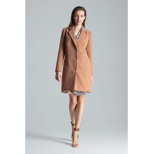 Beżowy jesienny płaszcz o kroju dyplomatki marki Figl