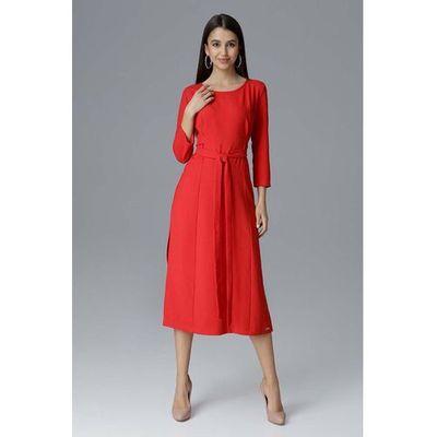 ba137618fa suknie sukienki rozkloszowana sukienka do kolan z dlugim rekawem ...