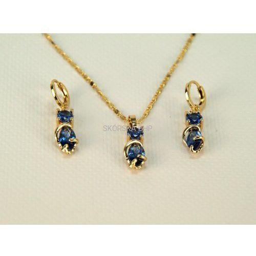 Importer - skórska bhp Komplet biżuterii orientalny, pozłacany z szafirami - złoto 18k