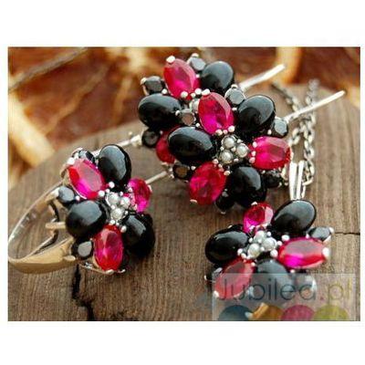 5433b20c48d517 DELFIA - srebrny komplet rubiny, perły i onyksy, kolor czerwony Jubilea
