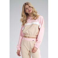 Dwukolorowa krótka bluza z kapturem - beżowo-różowa