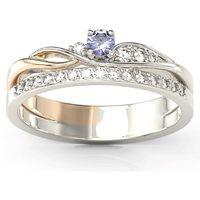 Węc - twój jubiler Pierścionek z białego i różowego złota z tanzanitem i brylantami bp-77bp-tan/d - białe i różowe \ tanzanit