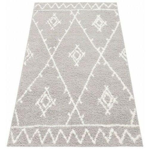 Dywan Shaggy Eco Komfort Mila 120x170 Szary Biały Romby Krata Zygzaki Myretail