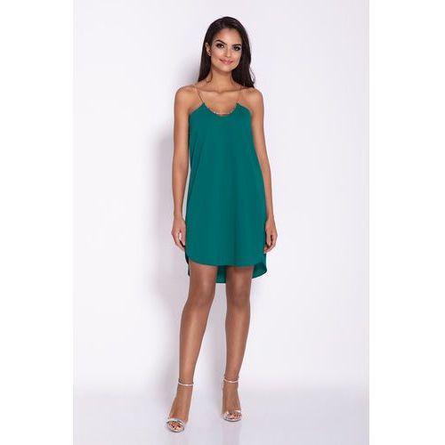 d924100c34 Zobacz ofertę Zielona Elegancka Luźna Sukienka z Wydłużonym tyłem na Wesele