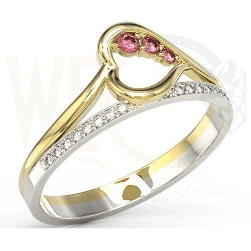 Pierścionek z żółtego i białego złota z rubinami i brylantami BP-83ZB - Żółte i białe \ Rubin, kolor czerwony