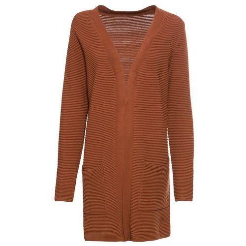 Długi sweter bez zapięcia bonprix orzechowy
