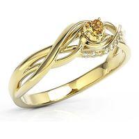 Pierścionek z żółtego złota z topazem miodowym Swarovski i cyrkoniami BP-73Z-TOP-HON/C - Żółte \ Topaz Honey, kolor biały