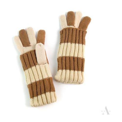 Kremowo-kawowe uniwersalne rękawiczki 2 w 1 długie i krótkie - jasnobrązowy   kremowy marki Evangarda