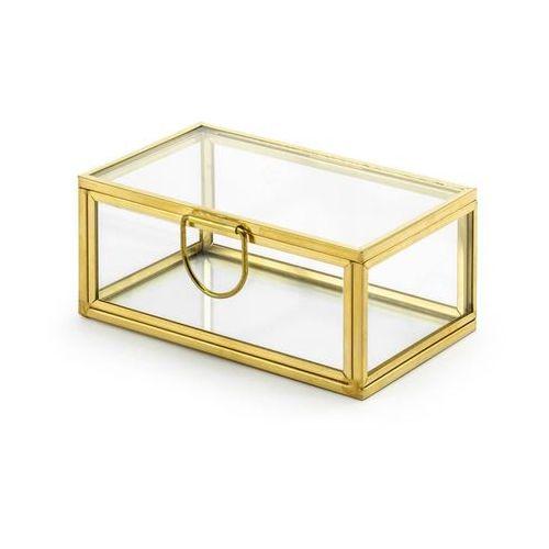 Party deco Szklane pudełko na obrączki złote - 1 szt.