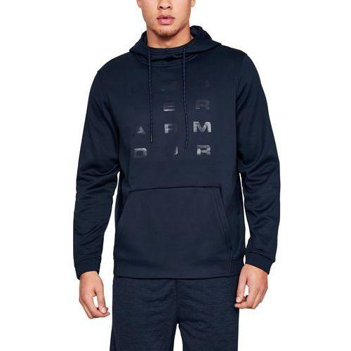 bluza z kapturem fleece tempo po hoodie granatowa - granatowy marki Under armour