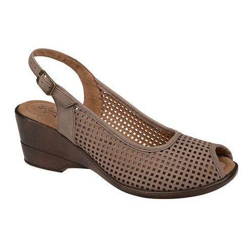 Sandały AXEL Comfort 2141 Beż Wosk Beżowe na haluksy Peep Toe, kolor beżowy