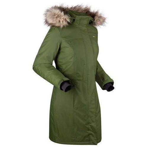 Bonprix Ciepły płaszcz funkcyjny ze sztucznym futerkiem ciemny khaki - srebrno-żółty musztardowy