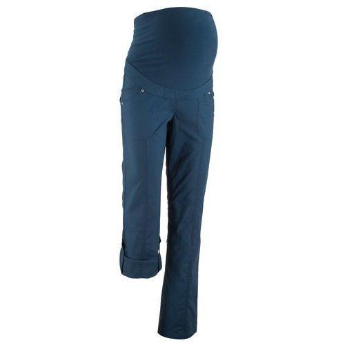 Spodnie ciążowe, proste nogawki z wywinięciem bonprix ciemnoniebieski, kolor niebieski