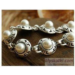 DORIA - srebrna bransoletka bransoletka z perłą, kolor szary