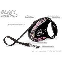 Flexi Glam Medium M czarna smycz automatyczna taśma z kryształkami Swarovskiego 5m dla psów do 25kg - kompozycja