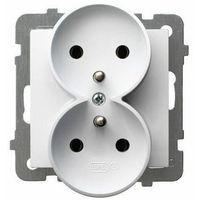 Gniazdo podwójne z/u, biały, GP-2GRZ/m/00 OSPEL AS (5907577451479)