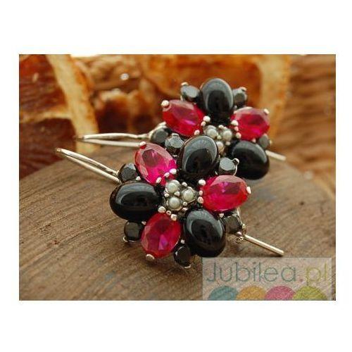 DELFIA - srebrne kolczyki rubiny, perły i onyksy, kolor czerwony
