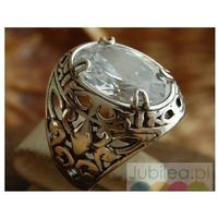LEON - srebrny pierscień, sygnet z kryształem