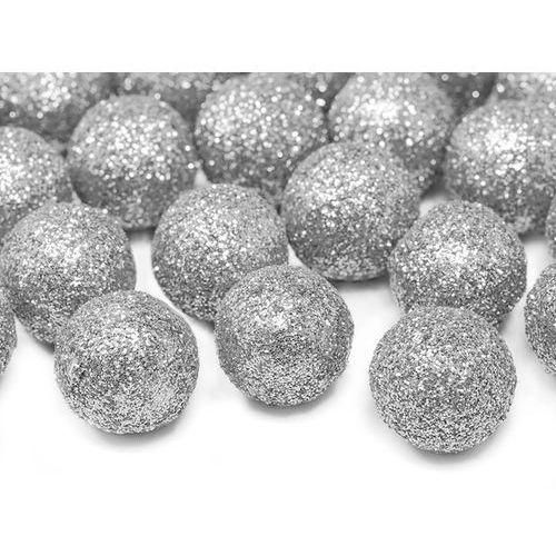 Ap Dekoracyjne brokatowe kule - srebrne - 2 cm - 25 szt.