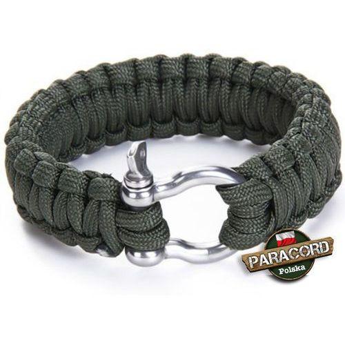 """Bransoleta survivalowa z Paracordu typ """"Cobra"""", z wplecioną metalową szeklą, kolor """"Army green"""""""