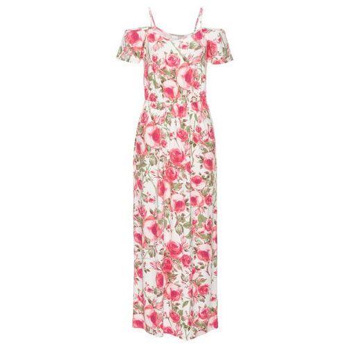 Długa sukienka z dżerseju z wycięciami bonprix biel wełny w kwiaty, w 4 rozmiarach
