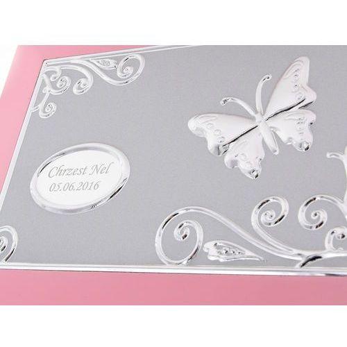 Szkatułka pozytywka prezent na chrzest z grawerem  szkatułka z pozytywką różowa z motylkiem marki