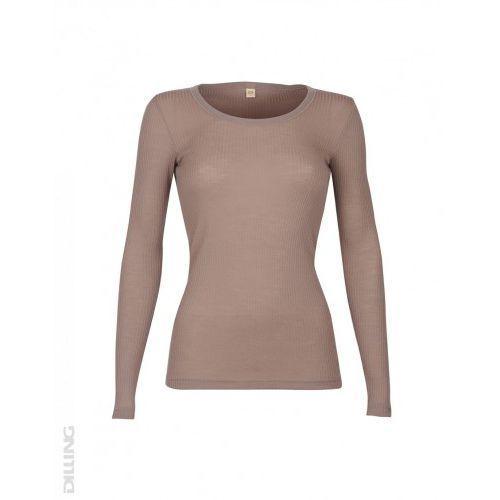 Koszulka damska z wełny merynosów (100%) - długie rękawy - prążkowany splot - beżowy róż - DILLING, kolor różowy