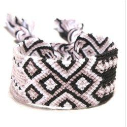 BRANSOLETKA damska MULINA sznurek black white pink - BLACK WHITE, kolor różowy
