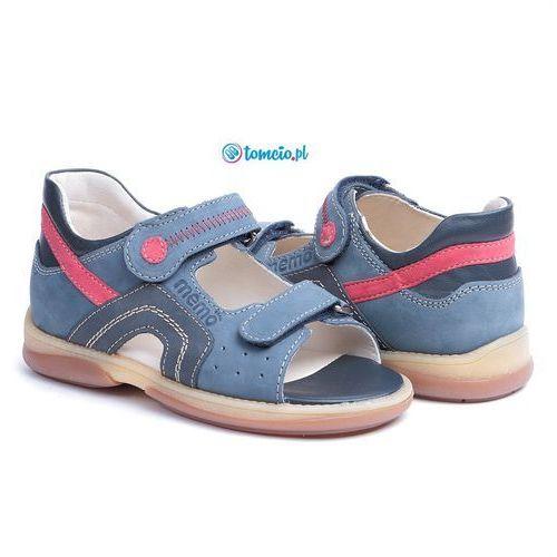Sandały profilaktyczne szafir 1ha dżinsowo/czerwone marki Memo