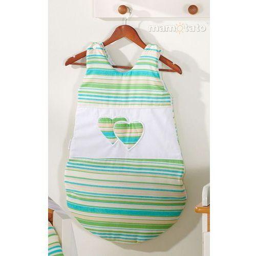 MAMO-TATO Śpiworek niemowlęcy Serduszka w Paseczkach zielonych, kolor zielony