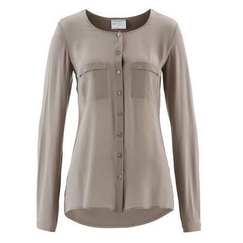 Bluzka Premium z jedwabną wstawką bonprix brunatny