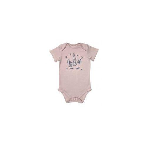 706422dfe1b653 Dziecięce body krótki rękaw pudrowy róż - Jednorożec, kolor różowy