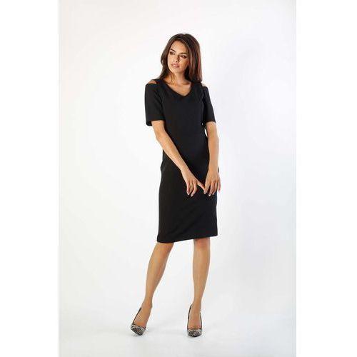 c043cb2b59 Zobacz ofertę Nommo Czarna klasyczna ołówkowa sukienka open shoulder