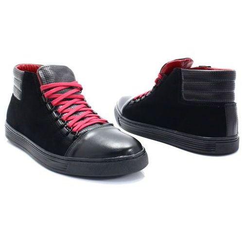 Kent 304 czarny+czerwony - skórzane trampki za kostkę - czerwony ||czarny - foto produktu