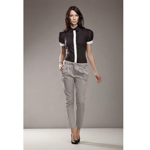553e1c45 Granatowe klasyczne długie spodnie w kant (Nife)