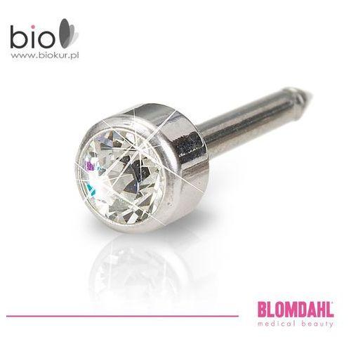 Kolczyk do przekłuwania uszu - bezel crystal 4 mm w kolorze srebra marki Blomdahl